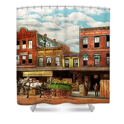 Shower Curtain featuring the photograph Food - Banana - The Banana Delivery Man 1921 by Mike Savad