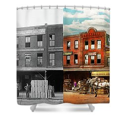Shower Curtain featuring the photograph Food - Banana - The Banana Delivery Man 1921 - Side By Side by Mike Savad