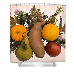 Shower Curtain featuring the digital art Food Bouquet by Lise Winne