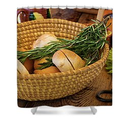 Food - Bread - Rolls And Rosemary Shower Curtain by Mike Savad