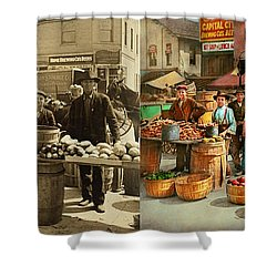 Shower Curtain featuring the photograph Food - Vegetables - Indianapolis Market 1908 - Side By Side by Mike Savad