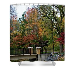 Foot Bridge In The Fall Shower Curtain