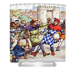 Football In The Middle Ages Shower Curtain by Pat Nicolle