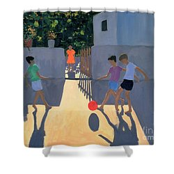 Footballers Shower Curtain by Andrew Macara