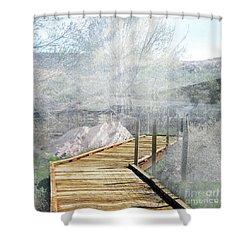 Footbridge In The Clouds Shower Curtain