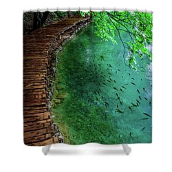 Footpaths And Fish - Plitvice Lakes National Park, Croatia Shower Curtain