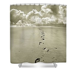 Footprints In Sand Shower Curtain by Mal Bray
