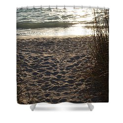 Shower Curtain featuring the photograph Footprints In The Dunes by Robert Margetts