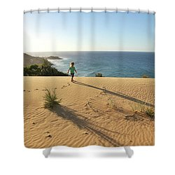 Footprints In The Sand Dunes Shower Curtain