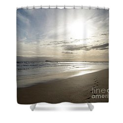 Shower Curtain featuring the photograph Footprints In The Sand by Linda Lees