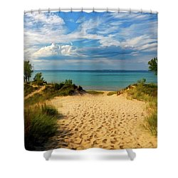 Shower Curtain featuring the painting Footprints In The Sand P D P by David Dehner