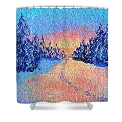 Shower Curtain featuring the painting Footprints In The Snow by Li Newton