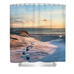 Shower Curtain featuring the photograph Footprints In The Snow by Robin-Lee Vieira