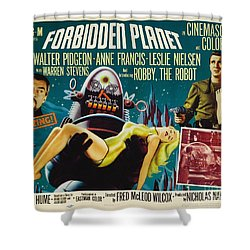 Forbidden Planet In Cinemascope Retro Classic Movie Poster Shower Curtain