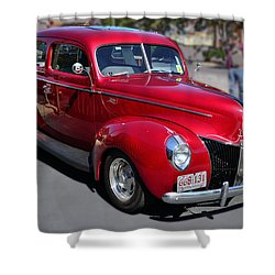 Shower Curtain featuring the photograph Ford 40 In Red by Larry Bishop