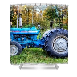 Shower Curtain featuring the painting Ford 4000 Vintage Tractor by Edward Fielding