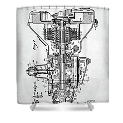 Shower Curtain featuring the digital art Ford Engine Patent by Taylan Apukovska