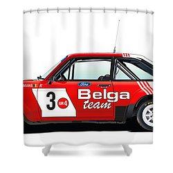 Ford Escort Rs Belga Team Illustration Shower Curtain by Alain Jamar