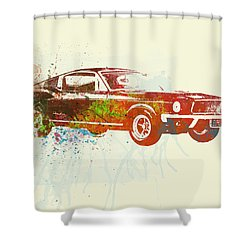 Ford Mustang Watercolor Shower Curtain