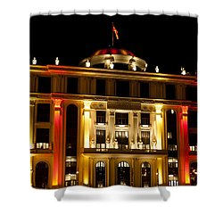 Foreign Affairs Building Shower Curtain by Rae Tucker
