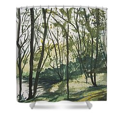 Shower Curtain featuring the painting Forest By The Lake by Manuela Constantin