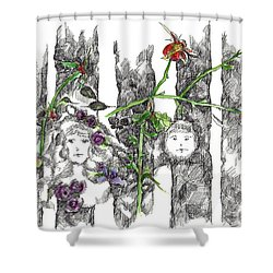 Shower Curtain featuring the drawing Forest Faces by Cathie Richardson
