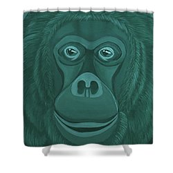 Forest Green Orangutan Shower Curtain