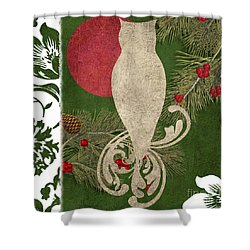 Forest Holiday Christmas Owl Shower Curtain by Mindy Sommers