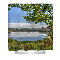Forest Lake Through The Trees Shower Curtain