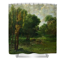 Forest Landscape Shower Curtain by Gustave Courbet