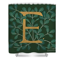 Forest Leaves Letter E Shower Curtain
