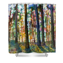 Forest Light Shower Curtain by Hailey E Herrera