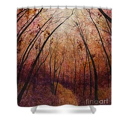 Shower Curtain featuring the painting Forest Path by Hailey E Herrera