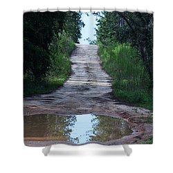 Forest Road And Puddle Shower Curtain