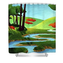 Forest Stream - Through The Forest Series Shower Curtain by Richard Hoedl