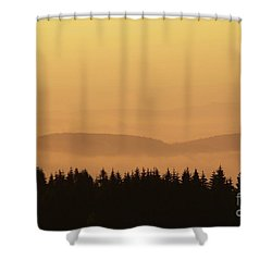 Forested Hills In Early Morning Mist Shower Curtain