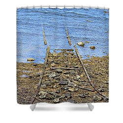 Shower Curtain featuring the photograph Forgotten Line by Stephen Mitchell