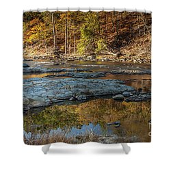 Shower Curtain featuring the photograph Fork River Reflection In Fall by Iris Greenwell