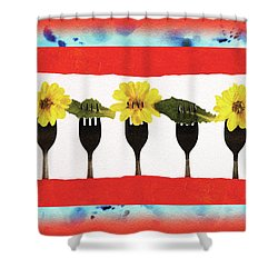 Forks And Flowers Shower Curtain by Paula Ayers