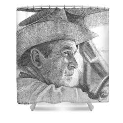 Former Pres. George W. Bush Wearing A Cowboy Hat Shower Curtain by Michelle Flanagan
