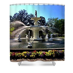 Forsyth Fountain In Spring Shower Curtain