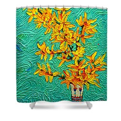 Forsythia Vibration Modern Impressionist Flower Art Palette Knife Oil Painting By Ana Maria Edulescu Shower Curtain