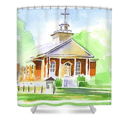 Shower Curtain featuring the painting Fort Hill Methodist Church 2 by Kip DeVore