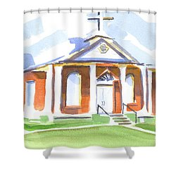 Shower Curtain featuring the painting Fort Hill Methodist Church by Kip DeVore