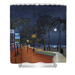 Fort Lauderdale Beach At Night Shower Curtain