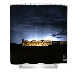 Lightening At Castillo De San Marco Shower Curtain