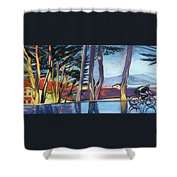 Fort Mason Bike Commute Shower Curtain by Colleen Proppe