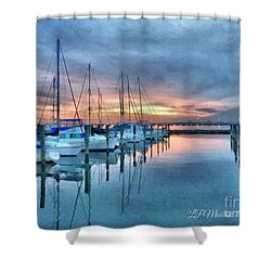 Fort Monroe Afire Shower Curtain by Linda Mesibov