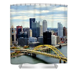 Shower Curtain featuring the photograph Fort Pitt Bridge by Michelle Joseph-Long