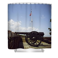 Fort Pulaski Cannon And Flag Shower Curtain